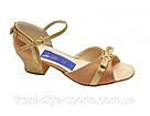 Танцевальные туфли для девочек (цвет: бежевый сатин + золото), фото 2