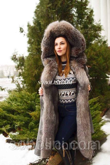 """Парка с восхитительным мехом Blue Frost, коттон красивого серого цвета """"Whitney"""" длина 120 см"""