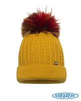 Детская теплая вязанная шапочка с помпоном для девочки от BARBARAS Польша 7afe645e9f65d