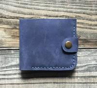 """Чоловічий шкіряний гаманець, кожаный кошелек """"Вlue"""" ручної роботи, натуральна шкіра, на кнопці, фото 1"""