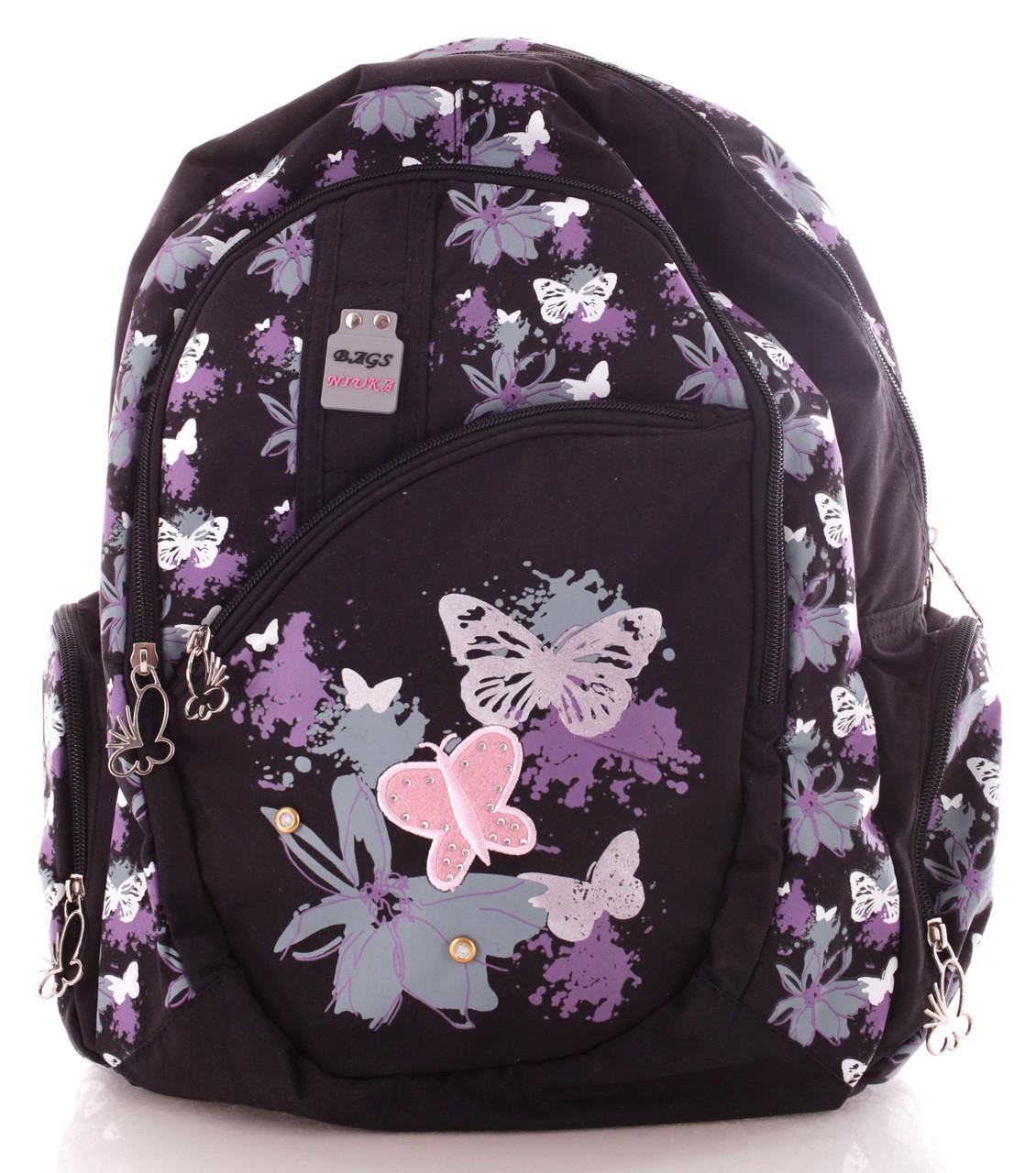 Яркий рюкзак Bag and backpack flowers, бабочки 15 л