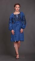 Женское вышитое платье Этно (цвет индиго)