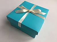Подарочная коробка бирюзовая с лентой и наполнителем