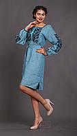 Вышитое женское платье Этно (цвет аква)