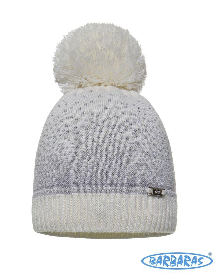 Дитяча тепла в'язана шапочка з помпоном для дівчаток від BARBARAS Польща