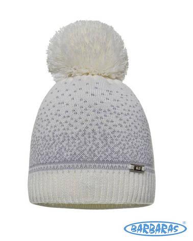Дитяча тепла в'язана шапочка з помпоном для дівчаток від BARBARAS Польща, фото 2