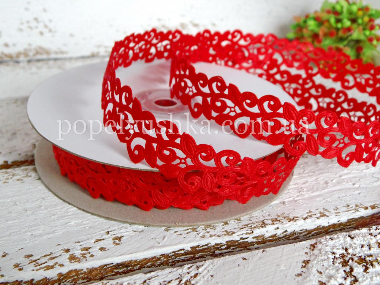 Стрічка мереживна 2 см червона