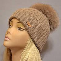 """Женская шапочка с большим песцовым помпоном """"Эскимо"""" сепия"""