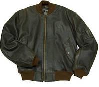 Кожаная летная куртка MA-1 Leather Alpha Industries, USA (Коричневая)