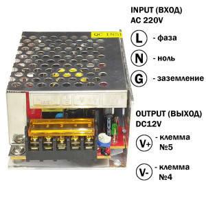 Блок живлення 36W для світлодіодної стрічки DC12 3А TR-36 металевий, фото 2