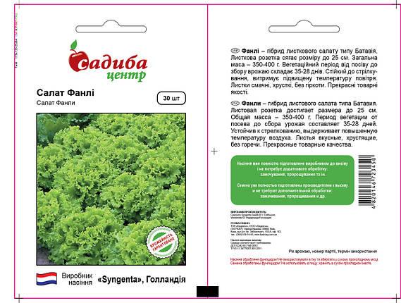 Семена салата Фанли (Syngenta / САДЫБА ЦЕНТР) 30 шт — ранний (30 дн), зелёный, тип Батавия, фото 2