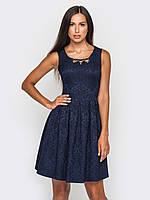 Отрезное по талии женское платье из жаккарда с расклешенной юбкой с большими складками 90182, фото 1