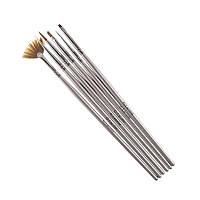 Набор кистей для наращивания и дизайна ногтей G.La color с серой ручкой 6 шт