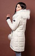 ОСовременная молодежная куртка пальто на зиму молочного цвета