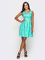 Отрезное по талии женское платье из жаккарда с расклешенной юбкой с большими складками 90182/2, фото 1