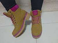 Женские ботинки зима, эко нубук, рыжие / ботинки тимберленды женские, каблук 5 см, теплые