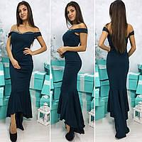 Женское длинное вечернее платье с декольте бутылочный(изумрудный), 42-44