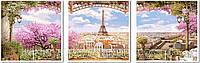 """Рисование по номерам """"Триптих. Весенний Париж"""" (VPT006) Турбо 50 х 150 см"""