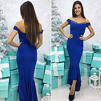 Женское длинное вечернее платье с декольте синий, 42-44