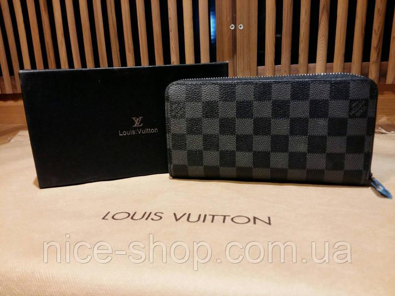 Кошелек Louis Vuitton Люкс черный в серую клетку, с коробкой, фото 2