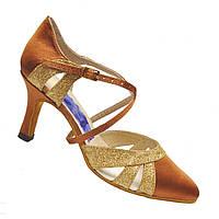 Туфли женские Стандарт (бежевый сатин с золотом)