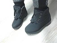 Женские ботинки с мехом,низкие, эко нубук, черные / ботинки  женские зимние, модные