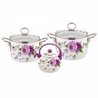 Набор эмалированной посуды 5 предметов (4.4л, 5.5л, чайник 2.5л с фиолетовый ручкой) Kamille (a5900А)