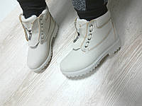 Женские ботинки с мехом, низкие, эко нубук, бежевые / ботинки  женские зимние, удобные