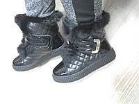 Женские ботинки зима, эко кожа, черные с опушкой из меха  кролика / ботинки  женские зимние, модные