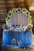 Оформление зала с голубым