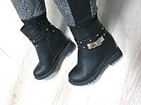 Женские зимние ботинки, низкие, эко кожа, черные / ботинки  женские зимние на скрытой танкетке, теплые