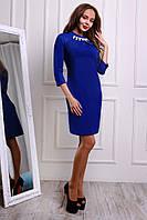 Платье женское синего цвета с украшением из жемчуга и камней