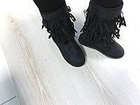 Женские угги зимние с бахромой, замшевые, 26 см, черные  / угги женские  UGG с мехом, модные
