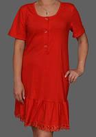 Ночная сорочка женская красная рукав 3/4 (ночнушка) на пуговицах трикотажная хлопковая Украина