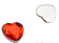 Камень клеевой сердечко красное