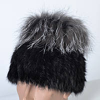 Женская шапка из натурального меха - кролик/чернобурка (код 29-614)