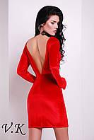 Платье бархатное с открытой спиной красное 11794