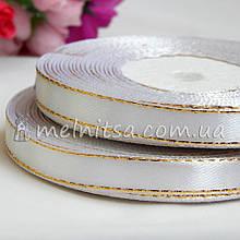 Атласная лента с люреском 0,9 см, молочный+золото