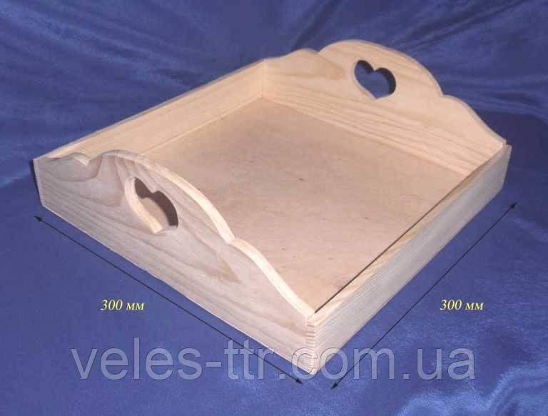 Поднос квадратный с сердечками 30х30х9,5/5 см дерево заготовка для декора