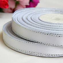 Атласная лента с люреском 0,9 см, белая+серебро