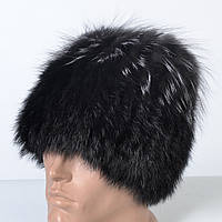 Женская шапка из натурального меха - кролик/чернобурка (код 29-615)