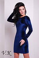 Платье бархатное с открытой спиной синее 11795