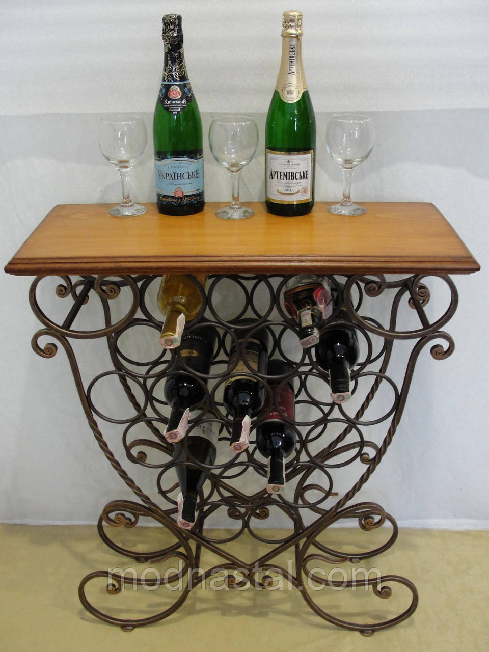 Cтол-стелаж для вина кованый (арт. PVKC-101-21-С)