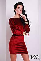 Платье бархатное с открытой спиной бордо 11796