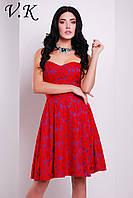 Платье на шелковой подкладке красное 11797
