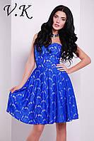 Платье на шелковой подкладке синее 11799