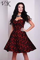 Платье на шелковой подкладке красно-черное 11800