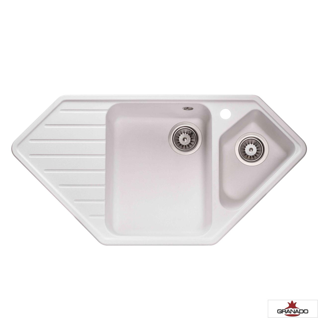 Мойка Ibiza White из гранита с двумя чашами и крылом от производителя Granado