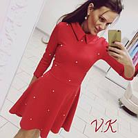 Платье с жемчугом красное 11802