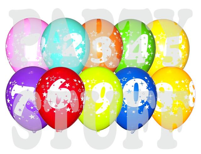шарики ассорти цифры 12 дюймов